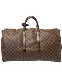 Louis Vuitton Damier Ebene Canvas Keepall Bandouliere 55 Bag - Brown