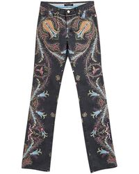 Roberto Cavalli Gray Printed Flared Bottom Jeans