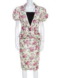 Dior Christian Beige Floral Print Silk Skirt Suit - Natural