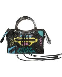 Balenciaga Black Graffiti Leather Mini Rh Classic City Bag