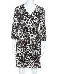 Diane von Furstenberg Diane Von Furstenburg Beige Leopard Print Jersey New Julian Mini Wrap Dress L - Natural