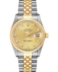 Rolex Champagne Diamonds 18k Yellow Gold And Stainless Steel Datejust 16013 Wristwatch 36 Mm - Metallic