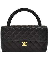 Chanel Black Quilted Leather Top Handle Flap Bag