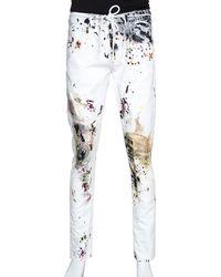 Off-White c/o Virgil Abloh White Paint Splatter Denim Slim Fit Jeans