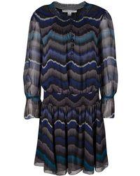 Diane von Furstenberg - Printed Silk Smocked Detail Kelley Dress M - Lyst