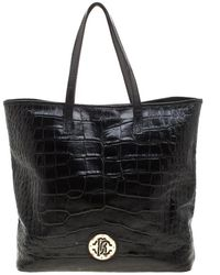 Roberto Cavalli Black Croc Embossed Leather Tote
