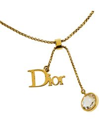 Dior Gold Tone Logo & Crystal Charm Bracelet - Metallic