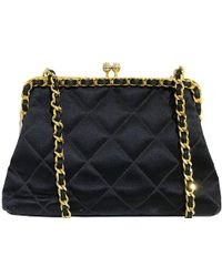 Chanel - Quilted Satin Kiss-lock Evening Bag - Lyst