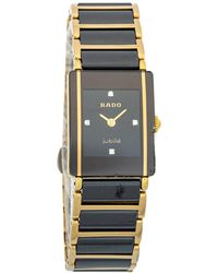 Rado Black Gold Tone Stainless Steel Titanium Ceramic Integral Jubilee 153.0383.3 Wristwatch 18 Mm