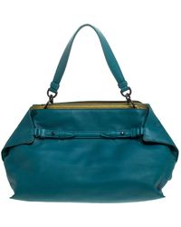 Bottega Veneta Teal Leather Satchel - Blue