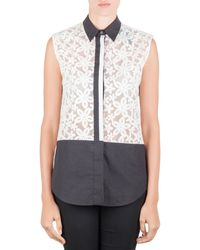 JOSEPH Off White Sheer Broderie Anglaise Contrast Trim Sleeveless Top