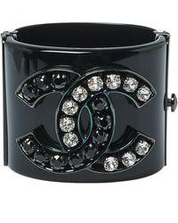 Chanel Cc Black Resin Crystal Studded Silver Tone Wide Cuff Bracelet