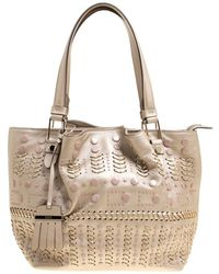 Lyst - Tod S Flower Micro Coated Canvas And Leather Bag in Gray 1d899fa802203