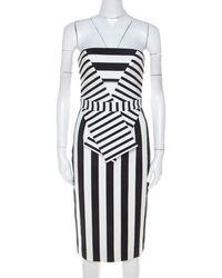 Cushnie et Ochs Black And White Striped Neoprene Strapless Dress