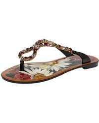 Dolce & Gabbana Multicolor Crystal Embellished Patent Leather Thong Slides