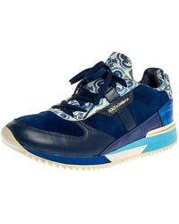 Dolce & Gabbana Blue/white Majolica Print Leather And Pony Hair Platform Trainers