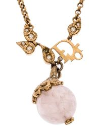 Dior Logo Faux Pearl Crystal Embellished Gold Tone Ball Necklace - Metallic