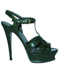 Saint Laurent Green Patent Leather Tribute Sandals