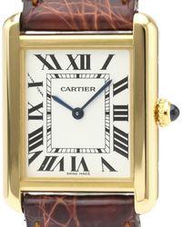Cartier Silver 18k Yellow Gold Tank Solo W5200002 Quartz Wristwatch 24 Mm - Metallic