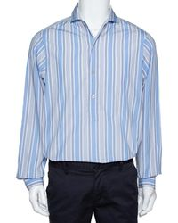 Gucci Blue Striped Cotton Oversized Half Placket Shirt