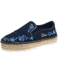 Dior Blue Floral Embroidered Denim Prairie Espadrille Flats