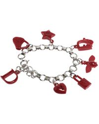 Dior Red Resin Multi Charm Silver Tone Link Bracelet