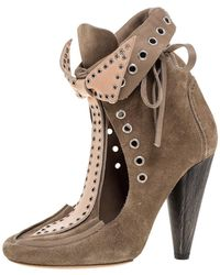Isabel Marant Khaki Brown Suede Milla Bow Tie Loafer Ankle Boots