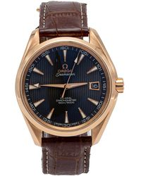Omega Grey Seamaster Aqua Terra Rose Gold Automatic Skeleton Back Men's Watch 41.5mm - Gray