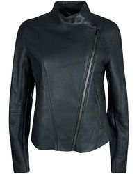 JOSEPH Forest Gray Lambskin Nappa Leather New Alpha Shearling Jacket L
