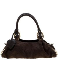 Moschino Dark Brown Signature Canvas And Leather Studded Satchel