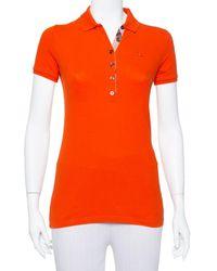 Burberry Orange Cotton Pique Polo T-shirt