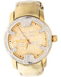 Gianfranco Ferré Gf Ferre Gold Two Tone Stainless Steel Diamond 9065b Wristwatch 40 Mm - Metallic