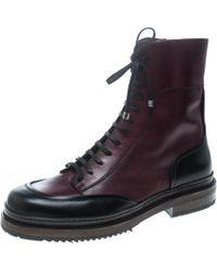 Ferragamo Burgundy Leather Mallorca Platform Ankle Boots Size 41.5 - Multicolour