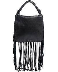 DKNY Black Leather Fringe Flap Top Handle Bag