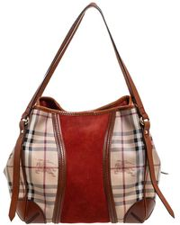 Burberry Brown/beige Haymarket Pvc, Leather And Suede Canterbury Tote