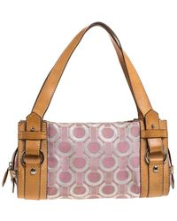 Lancel Pink/brown Printed Canvas And Leather Satchel