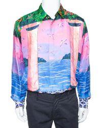 CASABLANCA Multicolor Printed Silk Satin Button Front Shirt