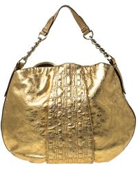 Carolina Herrera Gold Metallic Monogram Leather Chain Hobo