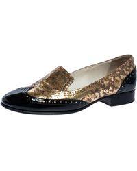 Chanel Metallic Gold And Black Patent Brogue Leather Slip On Oxford