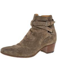 Saint Laurent Olive Green Blake Jodhpur Ankle Boots