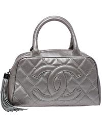 Chanel Metallic Pale Green Quilted Caviar Leather Small Tassel Bowler Bag