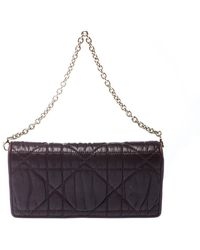 Dior Burgundy Leather Lady Wallet On Chain - Multicolour