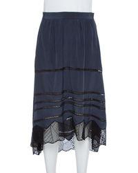 Zadig & Voltaire Navy Blue Crepe Joslin Cdc Lace Skirt