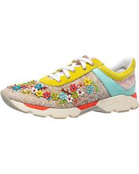 Rene Caovilla Rene Caovilla Multicolour Lace And Suede Flower Embellished Lace Up Trainers - Yellow