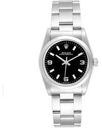 Rolex Black Stainless Steel Oyster Perpetual 67180 Women's Wristwatch 24mm
