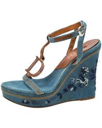 Dior Blue Denim Embroidered Ankle Wrap Wedge Platform Sandals Size 36.5