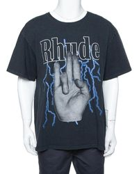 Rhude - Black Graphic Printed Cotton Washed Out Effect Oversized T-shirt - Lyst