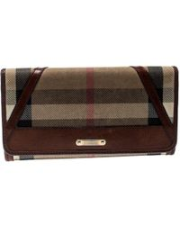 Burberry Beige/brown House Check Fabric And Leather Leighton Continental Wallet