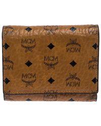 MCM Cognac Visetos Coated Canvas Tri Fold Compact Wallet - Brown