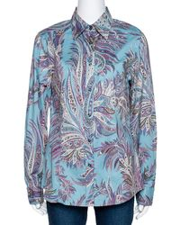 Etro Teal Paisley Print Stretch Cotton Long Sleeve Shirt L - Blue